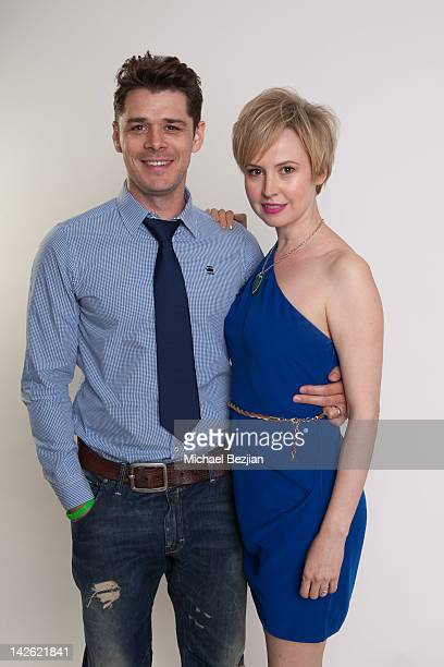 Actor Kenny Doughty and actress Caroline Carver attend Donate Life's National Blue & Green Celebrity Shoot Hosted By Ann Lopez on April 9, 2012 in...