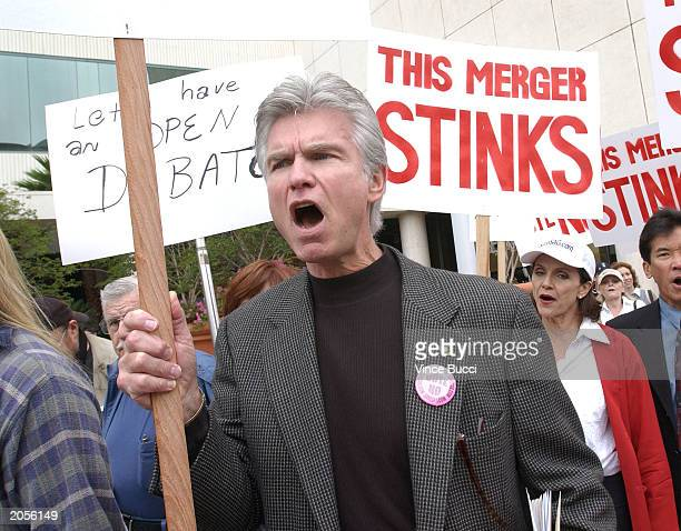 Actor Kent McCord attends a rally against a proposed merger between the Screen Actors Guild and the American Federation of Television and Radio...