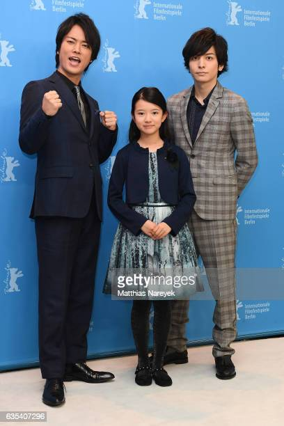 Actor Kenta Kiritani actress Rinka Kakihara and actor Toma Ikuta attend the 'CloseKnit' photo call during the 67th Berlinale International Film...