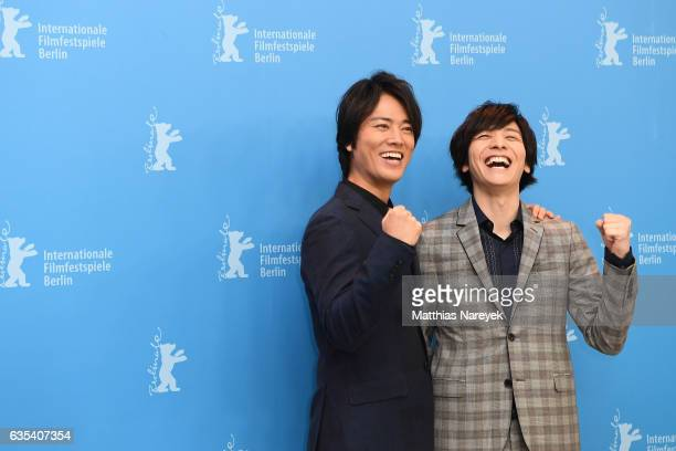 Actor Kenta Kiritani and actor Toma Ikuta attend the 'CloseKnit' photo call during the 67th Berlinale International Film Festival Berlin at Grand...