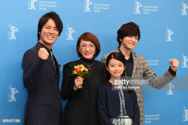 Actor Kenta Kiritani director Naoko Ogigami actress Rinka Kakihara and actor Toma Ikuta attend the 'CloseKnit' photo call during the 67th Berlinale...
