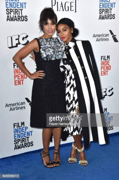 f8a970dac64 Actor Kerry Washington and Janelle Monáe attend the 2017 Film Independent  Spirit Awards at the Santa