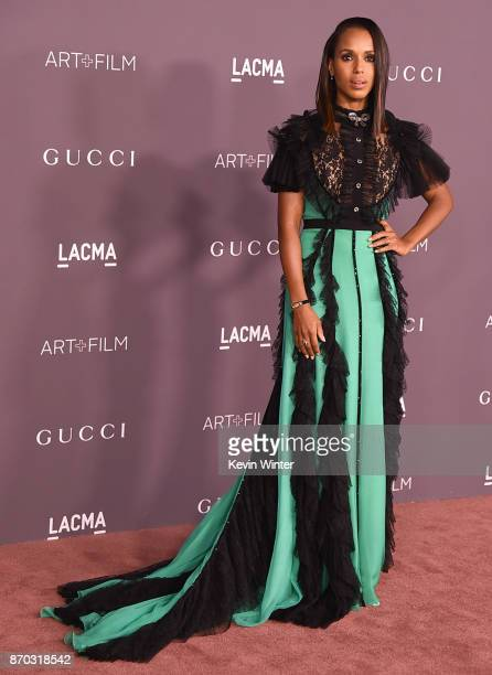 Actor Kerry Washington attends the 2017 LACMA Art Film Gala Honoring Mark Bradford And George Lucas at LACMA on November 4 2017 in Los Angeles...