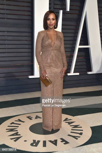 Actor Kerry Washington attends the 2017 Vanity Fair Oscar Party hosted by Graydon Carter at Wallis Annenberg Center for the Performing Arts on...