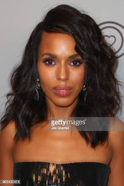 Actor Kerry Washington attends the 2018 InStyle and Warner Bros 75th Annual Golden Globe Awards PostParty at The Beverly Hilton Hotel on January 7...