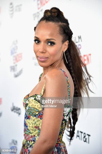 Actor Kerry Washington hair detial attends the 2018 Film Independent Spirit Awards on March 3 2018 in Santa Monica California