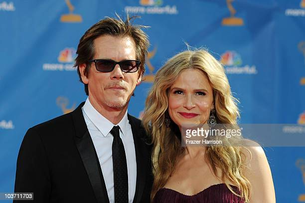 Actor Kevin Bacon and actress Kyra Sedgwick arrive at the 62nd Annual Primetime Emmy Awards held at the Nokia Theatre LA Live on August 29 2010 in...
