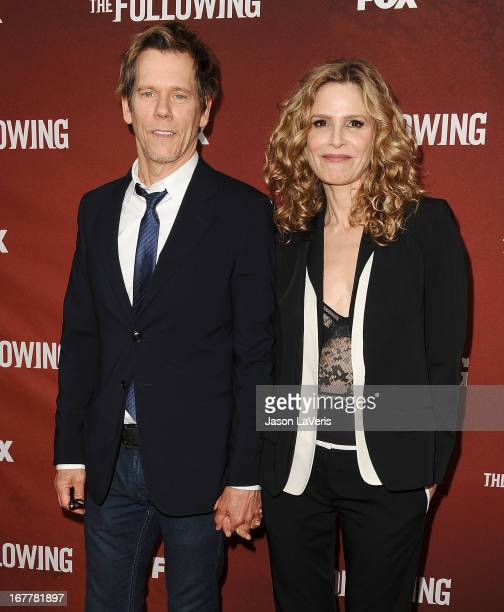 Actor Kevin Bacon and actress Kyra Sedgwick attend a screening and QA of 'The Following' at Leonard H Goldenson Theatre on April 29 2013 in North...