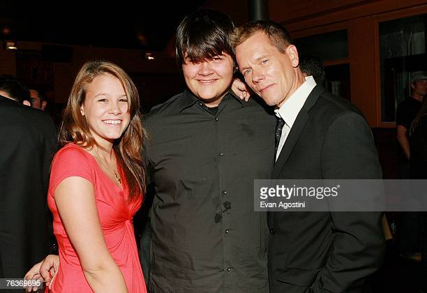 Actor Kevin Bacon and children Sosie and Travis attend the Death Sentence premiere after party at the Tribeca Cinemas August 28 2007 in New York City