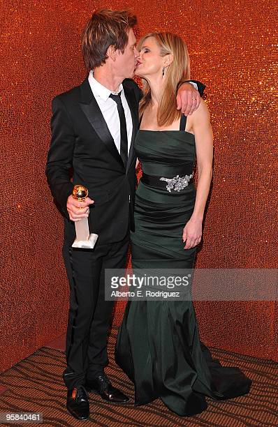 Actor Kevin Bacon and Kyra Sedgwick arrive at HBO's Post Golden Globe Awards Party held at Circa 55 Restaurant at The Beverly Hilton Hotel on January...