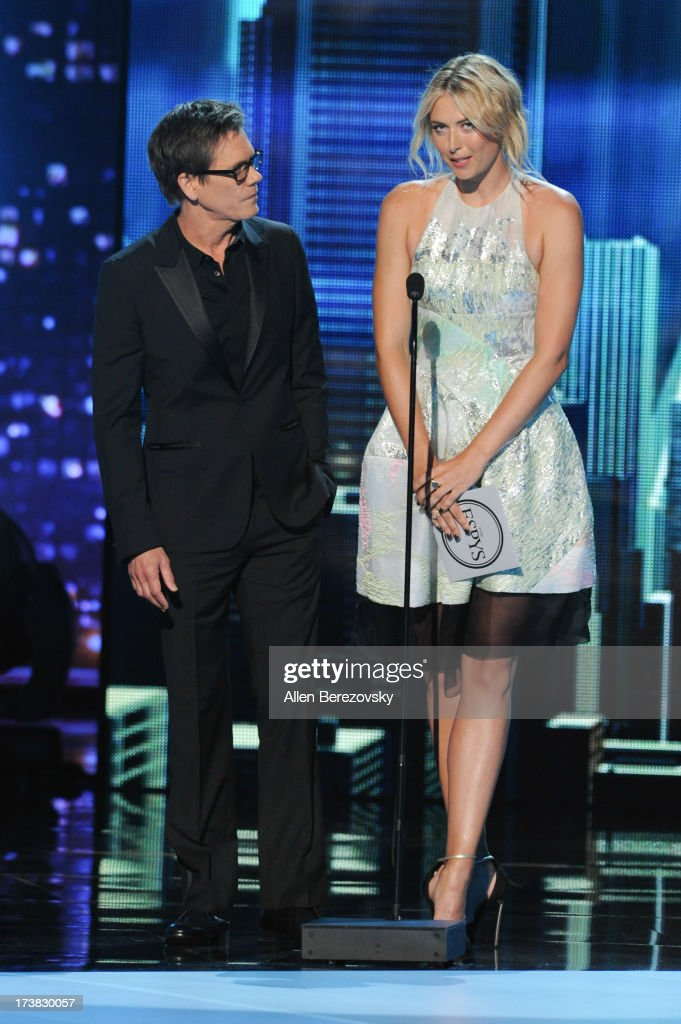 Actor Kevin Bacon and tennis player Maria Sharapova present award for Best Comeback Athlete onstage at the 2013 ESPY Awards at Nokia Theatre L.A. Live on July 17, 2013 in Los Angeles, California.