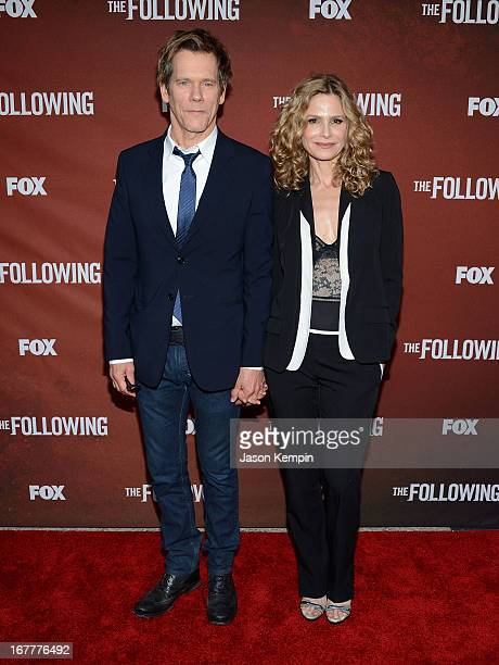 Actor Kevin Bacon and wife Kyra Sedgwick attend the screening of Fox's The Following at Leonard H Goldenson Theatre on April 29 2013 in North...