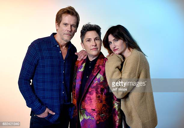 Actor Kevin Bacon director Jill Soloway and actress Kathryn Hahn from the series 'I Love Dick' pose for a portrait in the WireImage Portrait Studio...