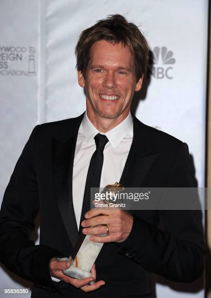 Actor Kevin Bacon poses in the press room at the 67th Annual Golden Globe Awards at The Beverly Hilton Hotel on January 17 2010 in Beverly Hills...