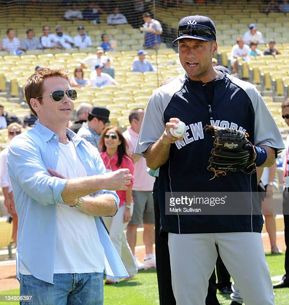 Actor Kevin Connolly and New York Yankee Derek Jeter at Dodger Stadium on June 26 2010 in Los Angeles California