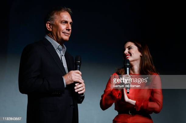 Actor Kevin Costner and actress Ivana Baquero attend the 'Highwaymen' film by Netflix premiere at the Cine Capitol on March 25 2019 in Madrid Spain