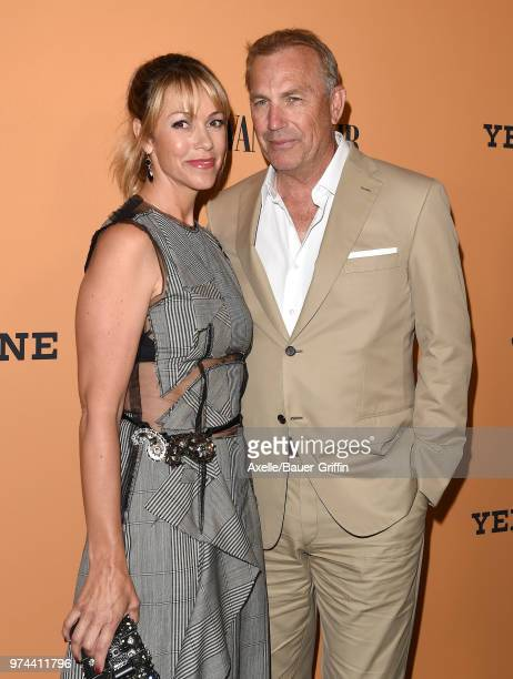 Actor Kevin Costner and Christine Baumgartner arrive at the premiere of Paramount Pictures' 'Yellowstone' at Paramount Studios on June 11 2018 in...