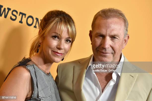 Actor Kevin Costner and Christine Baumgartner arrive at the premiere of Paramount Pictures' 'Yellowstone' at Paramount Studios on June 11, 2018 in...