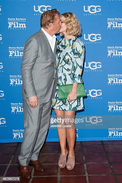Actor Kevin Costner and Christine Baumgartner attend the Closing Night of the 30th Santa Barbara International Film Festival featuring 'McFarland...