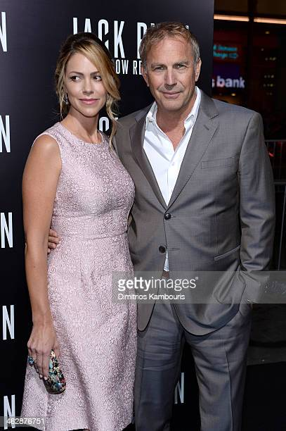 Actor Kevin Costner and Christine Baumgartner attend the premiere of Paramount Pictures' Jack Ryan Shadow Recruit at TCL Chinese Theatre on January...