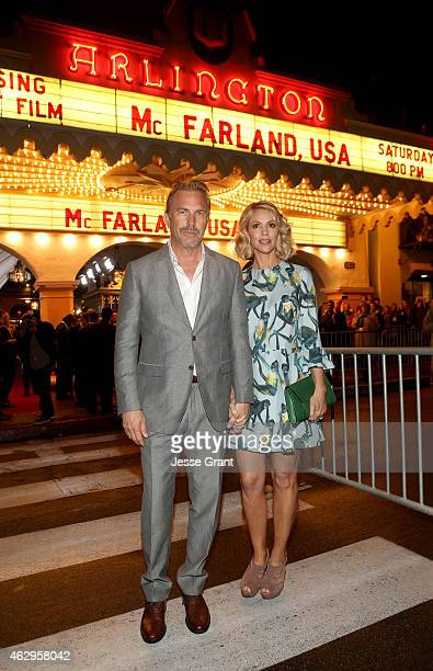 Actor Kevin Costner and Christine Baumgartner attend The Santa Barbara Film Festival Closing Night Screening of McFarland USA at The Arlington...