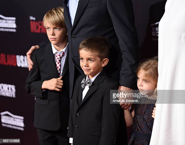 Actor Kevin Costner and Christine Baumgartner's children Cayden Wyatt Costner Hayes Logan Costner and Grace Avery Costner arrive at the world...