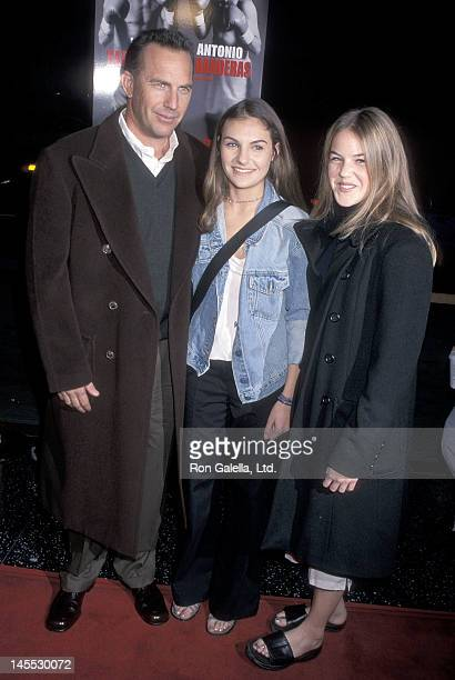 Actor Kevin Costner and daughters Annie and Lily Costner attend the 'Play It to the Bone' Hollywood Premiere on January 10 2000 at the El Capitan...