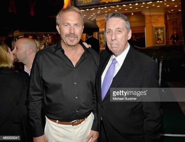 """Actor Kevin Costner and Director Ivan Reitman attend Premiere Of Summit Entertainment's """"Draft Day"""" at Regency Bruin Theatre on April 7, 2014 in Los..."""