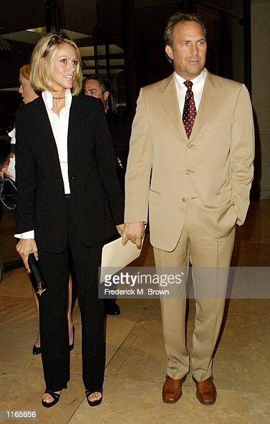 Actor Kevin Costner and girlfirend Christine Baumgart attend the Casting Society of America's Artios Awards October 4 2001 in Beverly Hills CA Bernie...