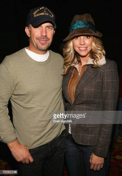 Actor Kevin Costner and his wife Christine Baumgartner pose at the Afterglow party during the Mohegan Sun 10th Anniversary celebration in the Cabaret...