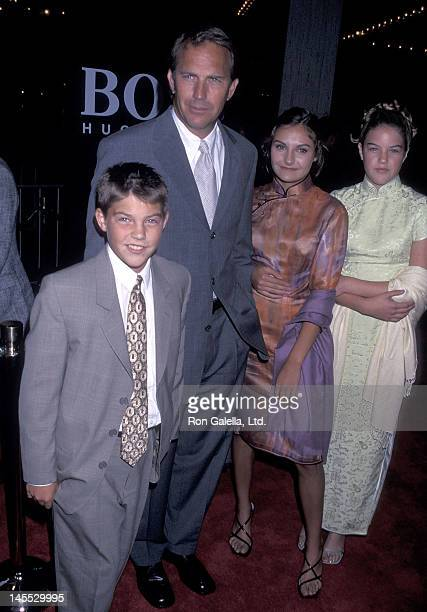 Actor Kevin Costner and kids Joe Annie and Lily Costner attend the For Love of the Game Century City Premiere on September 15 1999 at CIneplex Odeon...