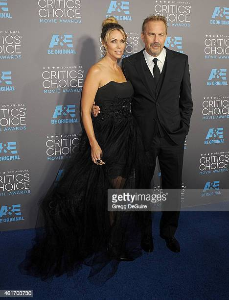 Actor Kevin Costner and wife Christine Baumgartner arrive at the 20th Annual Critics' Choice Movie Awards at Hollywood Palladium on January 15 2015...