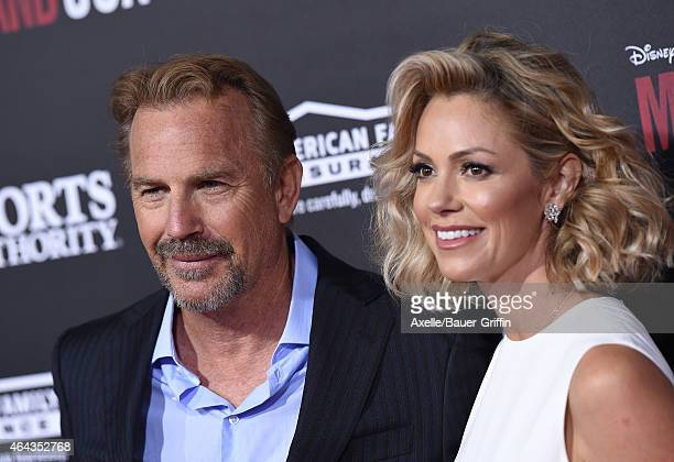 Actor Kevin Costner and wife Christine Baumgartner arrive at the World Premiere of Disney's 'McFarland USA' at the El Capitan Theatre on February 9...