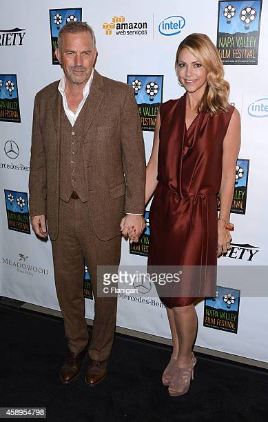 Actor Kevin Costner and wife Christine Baumgartner attend the 2014 Festival Gala during the Napa Valley Film Festival on November 13, 2014 in Napa,...
