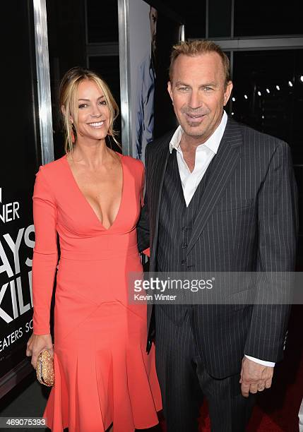 Actor Kevin Costner and wife Christine Baumgartner attend the premiere of Relativity Media's 3 Days To Kill at ArcLight Cinemas on February 12 2014...