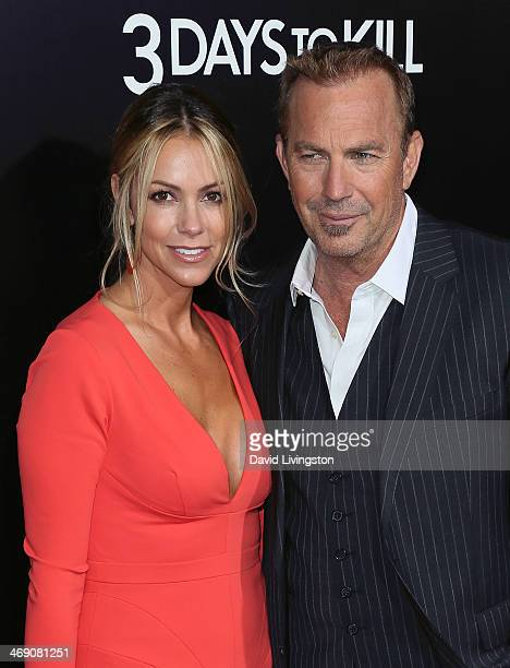 Actor Kevin Costner and wife Christine Baumgartner attend the premiere of Relativity Media's '3 Days to Kill' at ArcLight Cinemas on February 12 2014...