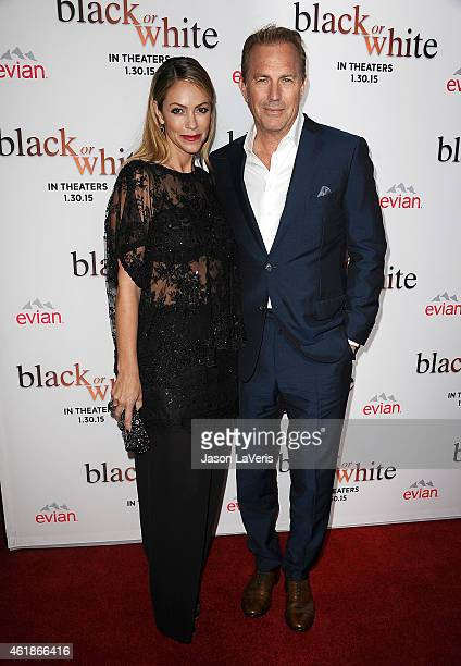 Actor Kevin Costner and wife Christine Baumgartner attend the premiere of 'Black or White' at Regal Cinemas LA Live on January 20 2015 in Los Angeles...