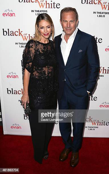 Actor Kevin Costner and wife Christine Baumgartner attend the premiere of Relativity Media's 'Black or White' at Regal Cinemas LA Live on January 20...