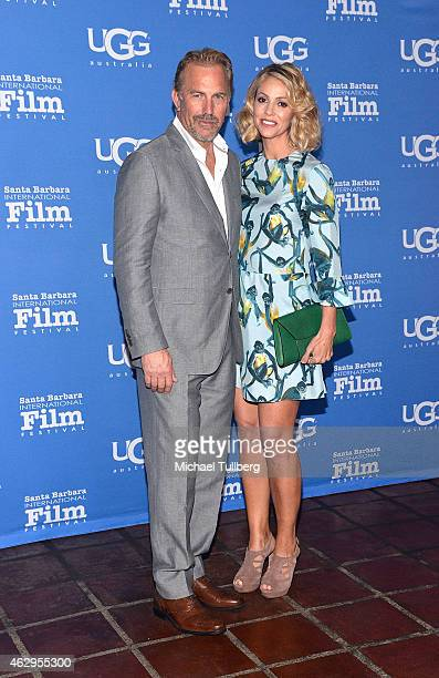 Actor Kevin Costner and wife Christine Baumgartner attend the premiere screening of MacFarland USA at the 30th Santa Barbara International Film...