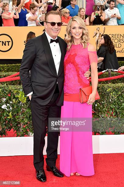 Actor Kevin Costner and wife Christine Baumgartner attend TNT's 21st Annual Screen Actors Guild Awards at The Shrine Auditorium on January 25 2015 in...