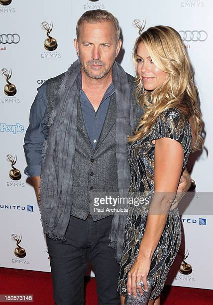 Actor Kevin Costner and wife Christine Baumgartner attends the 64th Primetime Emmy Award Performer Nominee Reception at Spectra by Wolfgang Puck at...