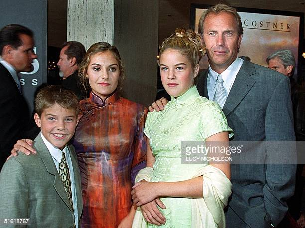US actor Kevin Costner arrives at the premiere of his new film For the Love of the Game with his children Joe Annie and Lily in Los Angeles 15...