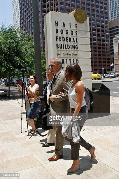Actor Kevin Costner arrives with daughter Annie Costner and a member of his legal team at the US District Court Eastern District Of Louisiana on June...