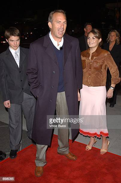 Actor Kevin Costner arrives with son Joe and daughter attend the premiere of the film Dragonfly February 18 2002 in Los Angeles CA