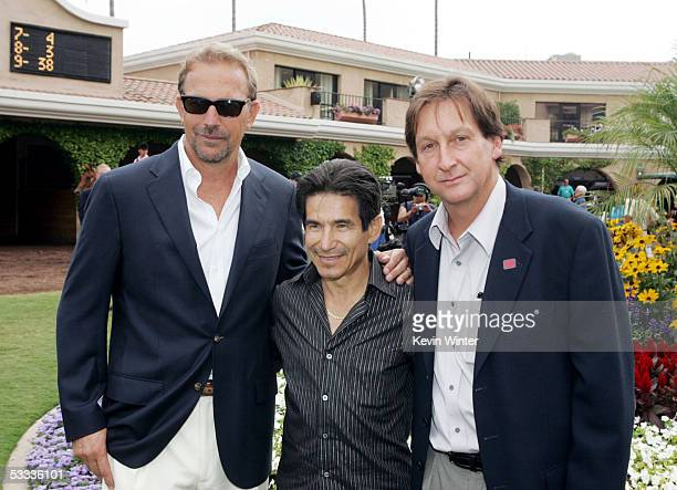 Actor Kevin Costner former jockey Laffit Pincay and producer/director Jim Wilson pose at the premiere of 'Laffit All About Winning' a documentary...