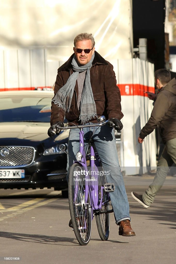 Actor Kevin Costner is seen on the location of 'Three days to kill' on December 11, 2012 in Paris, France.