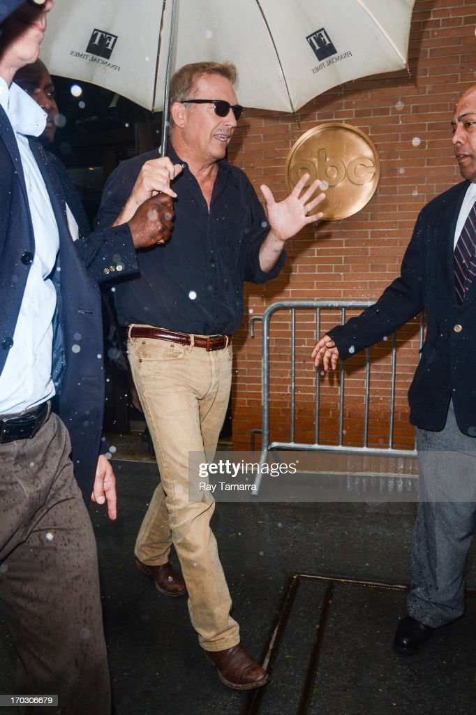 Actor Kevin Costner leaves the 'Katie Couric Show' taping at the ABC Lincoln Center Studios on June 10, 2013 in New York City.
