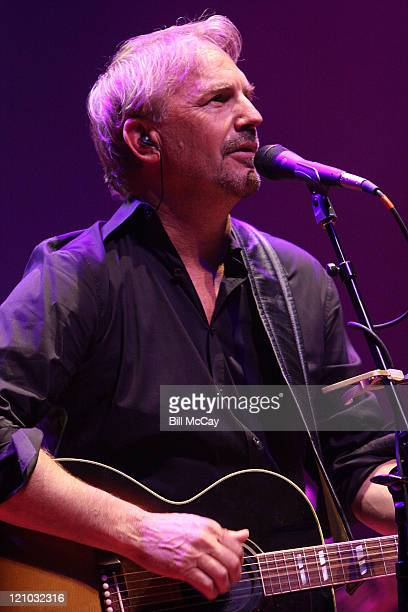 Actor Kevin Costner performs live with his band Modern West at the House of Blues August 1, 2008 in Atlantic City, New Jersey.
