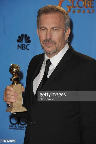Actor Kevin Costner poses in the press room at the 70th Annual Golden Globe Awards held at The Beverly Hilton Hotel on January 13 2013 in Beverly...