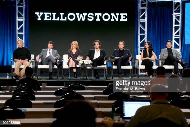 Actor Kevin Costner producer/writer Taylor Sheridan and actors Kelly Reilly Luke Grimes Cole Hauser Kelsey Asbille and Gil Birmingham of...